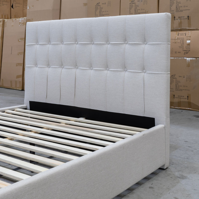 Zara Queen Upholstered Storage Bed - Oat - Warehouse Furniture Clearance