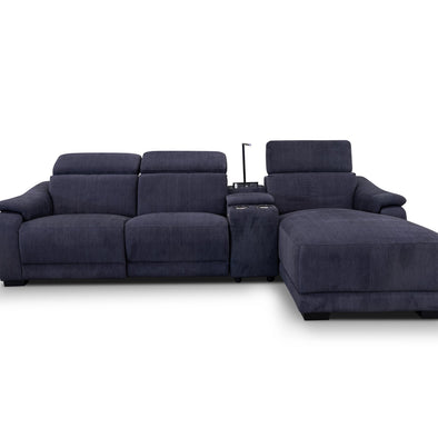 Zenn Three Seater Chaise Electric Lounge – Ebony - Warehouse Furniture Clearance