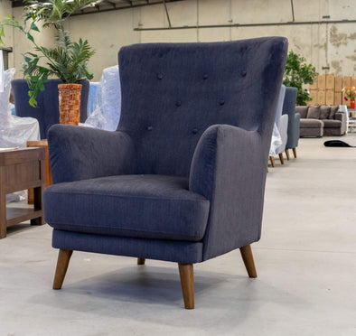 Zoe Accent Chair – Ebony Velvet - Warehouse Furniture Clearance