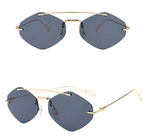 Load image into Gallery viewer, Black Rimless Diamond Double Bar Sunglasses