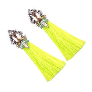 Load image into Gallery viewer, Neon Yellow Fringed Statement Tassel Earrings