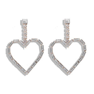 Load image into Gallery viewer, Crystal Heart Drop Earrings