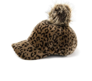 Leopard Print Faux Fur Baseball Cap With Pompom