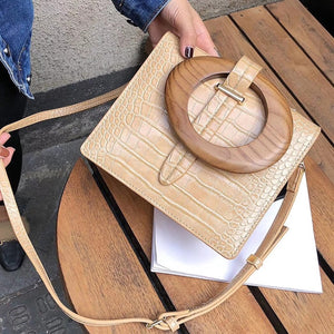 Load image into Gallery viewer, Alligator Handbag With Wooden Handle