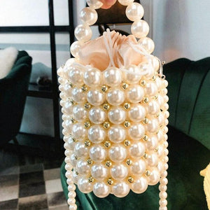 Pearl Beaded Drawstring Evening Bag