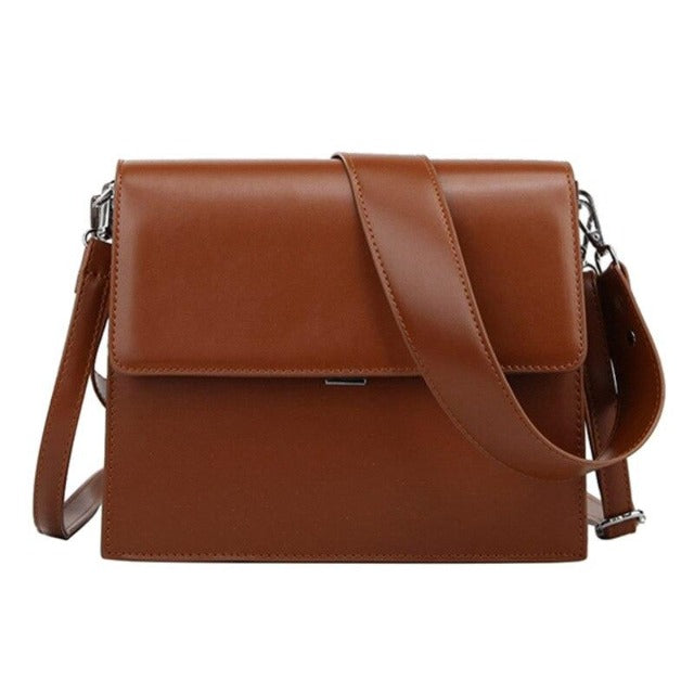 Block Colour Wide Shoulder Bag With Crossbody Strap