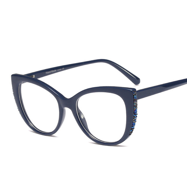 Navy Blue Luxury Crystal Oversized Cat Eye Glasses