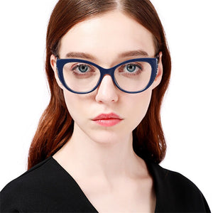 Load image into Gallery viewer, Navy Blue Luxury Crystal Oversized Cat Eye Glasses