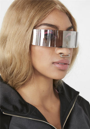 Silver Wrap Around Futuristic Sunglasses