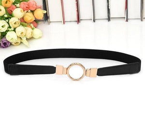 Black Elasticated Belt With Round Gold Buckle