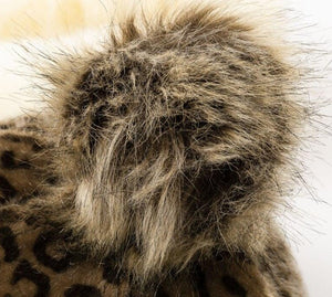Load image into Gallery viewer, Leopard Print Faux Fur Baseball Cap With Pompom