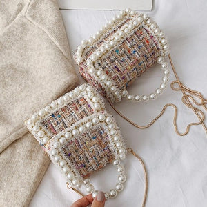 Wool Mini Grab Bag With Pearl Handle And Embellishment