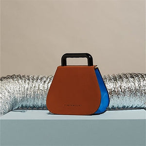 Contrast Leather Top Handle Bag With Acrylic Handle