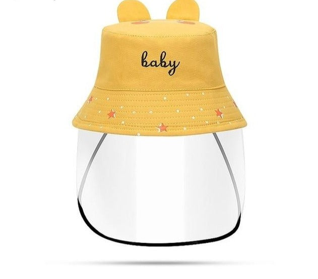 Children's Yellow Sun Or Rain Bucket Hat With Visor