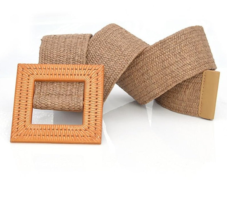 Straw Belt With Square Buckle