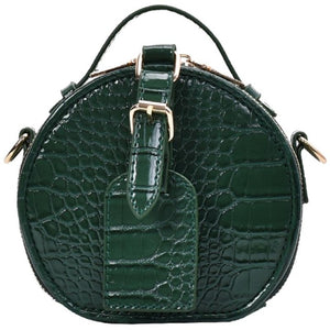 Stone Pattern Alligator Inspired Round Crossbody Bag