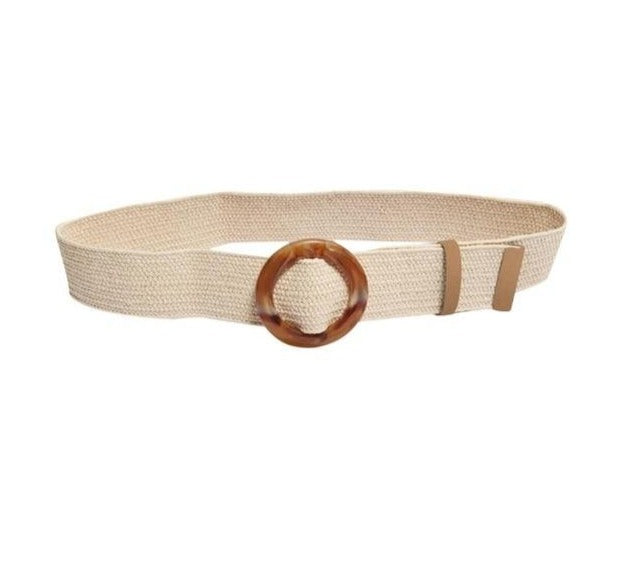 Load image into Gallery viewer, Straw Waist Belt With Round Jade Buckle