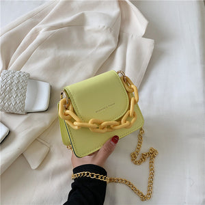 Solid Colour Mini Square Bag With Large And Small Chains