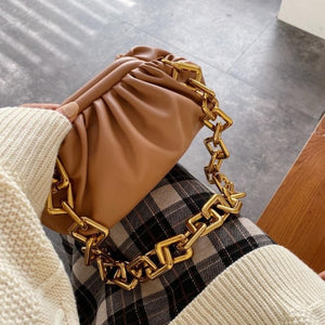 Pleated Shoulder Bag With Intricate Chain Strap