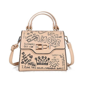 Load image into Gallery viewer, Luxury Graffiti Print Structured Handbag