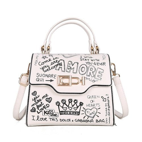 Luxury Graffiti Print Structured Handbag