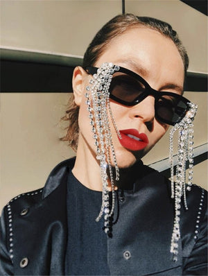 Load image into Gallery viewer, Black Crystal Rhinestone Tassel Detailing Sunglasses