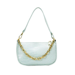 Crocodile Pattern Chain Shoulder Bag