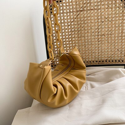 Solid Colour Dumpling Bag With Chain