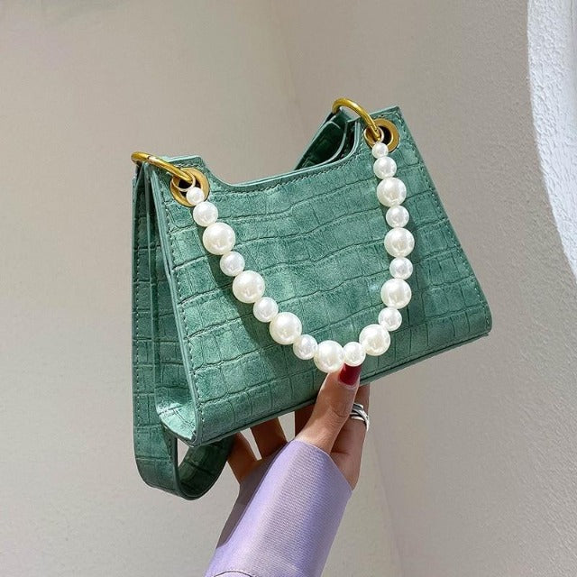 Textured Grab Bag With Pearl Handles