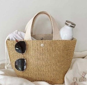 Load image into Gallery viewer, Rattan Summer Bucket Beach Bag