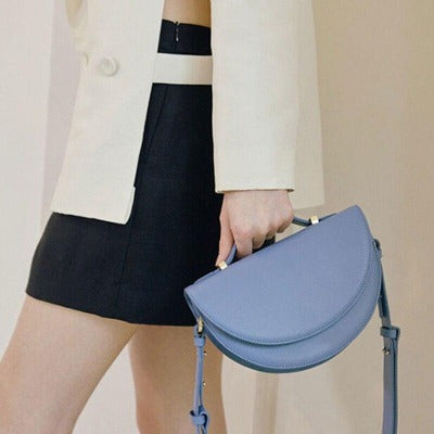 Solid Colour Half Moon Shoulder Bag