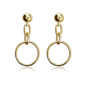 Load image into Gallery viewer, Metal Chain Link Circle Drop Earrings