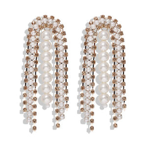 Luxury Crystal And Pearl Statement Dangle Earrings