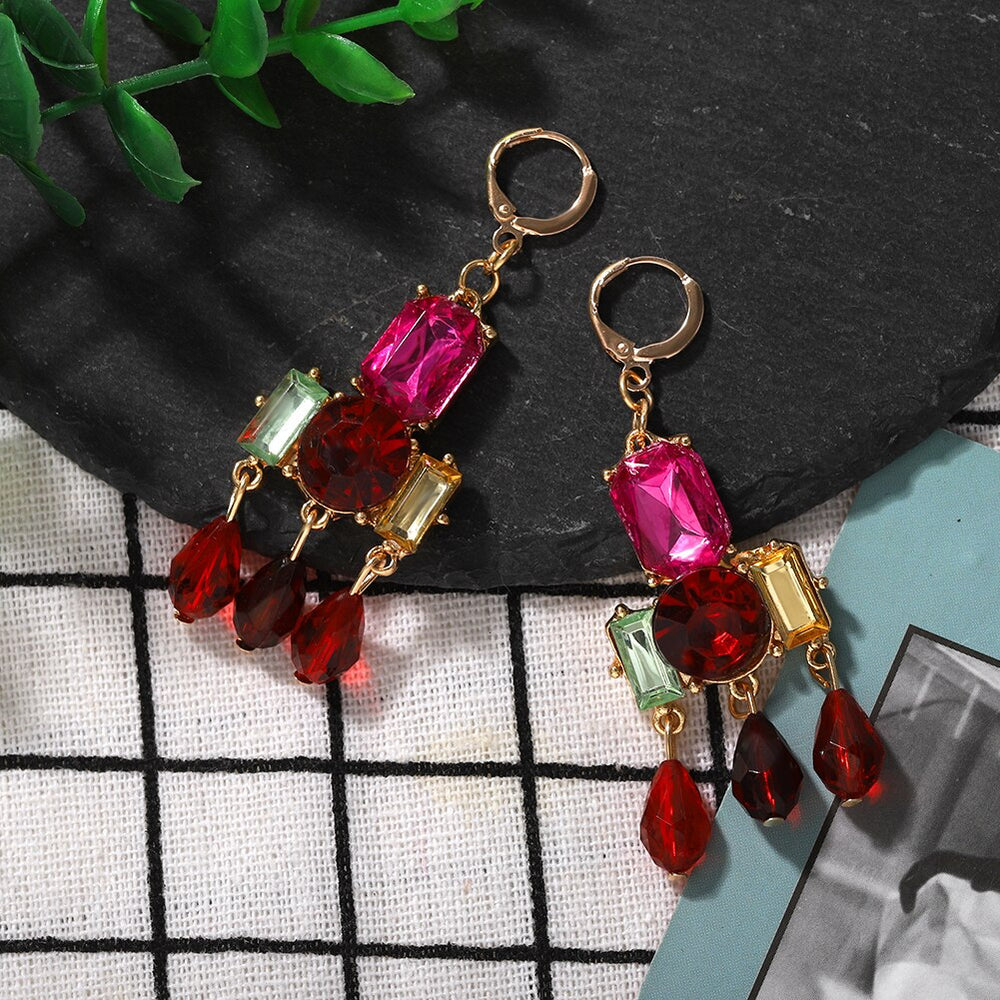 Load image into Gallery viewer, Multicolour Statement Gem Dangle Earrings