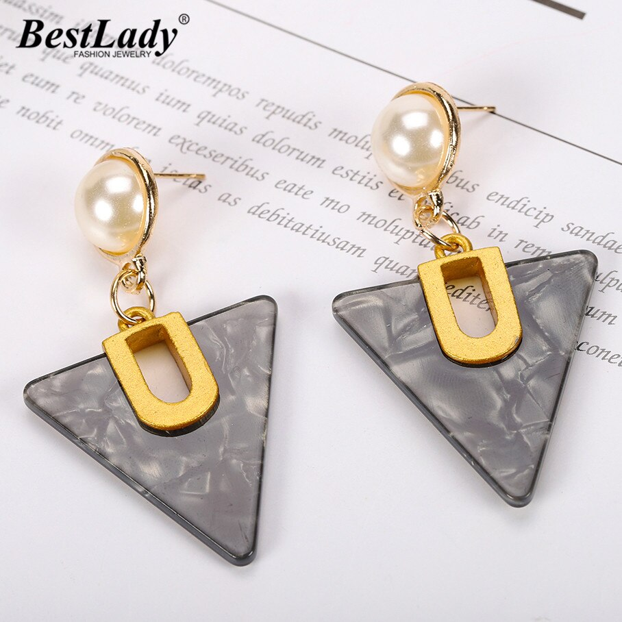 Load image into Gallery viewer, Boho Triangle Pendant Resin Drop Earrings