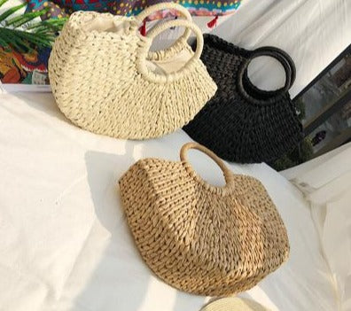 Load image into Gallery viewer, Straw Beach Bag