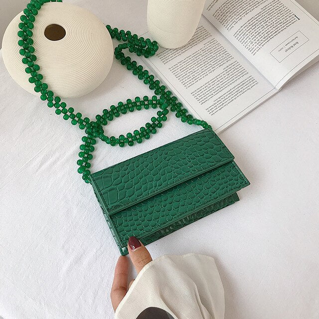 Mini Stone Flap Bag With Beaded Strap