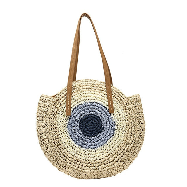 Load image into Gallery viewer, Round Straw Beach Bags
