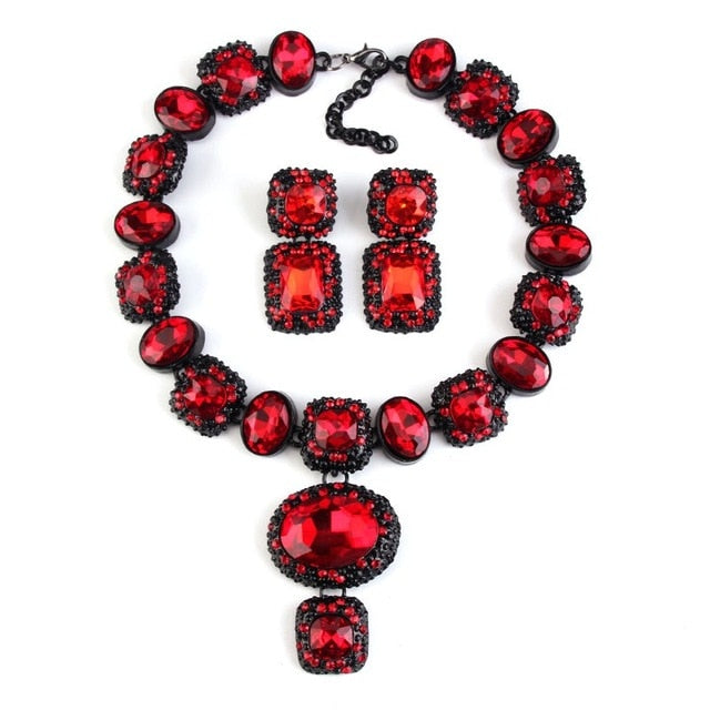 Ruby Red Crystal Gem Necklace