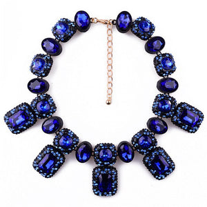 Rich Square Gem Statement Collar Necklace