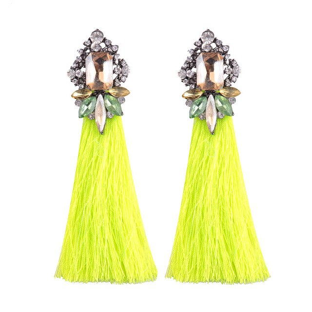 Neon Yellow Fringed Statement Tassel Earrings
