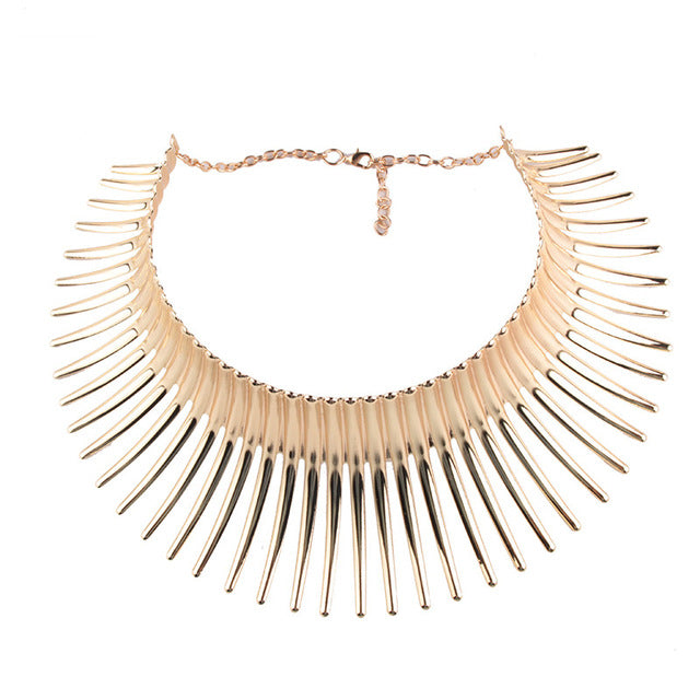 Statement Gold And Silver Choker Necklace