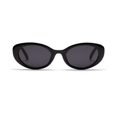 Black Retro Oval Sunglasses With Contrast Frame