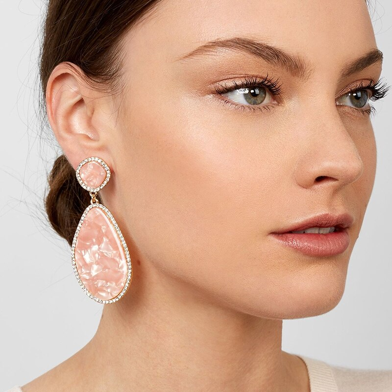 Pastel Pink And Bright Resin Drop Earrings With Crystal Edging