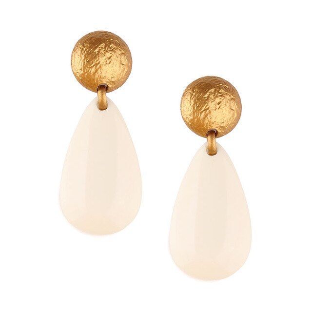 Gold And White Water Drop earrings