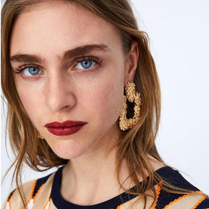 Geometric Textured Square Drop Earrings