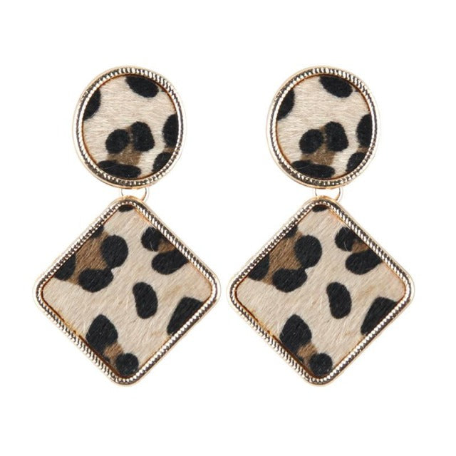 Leopard Print Geometric Round And Diamond Drop Earrings