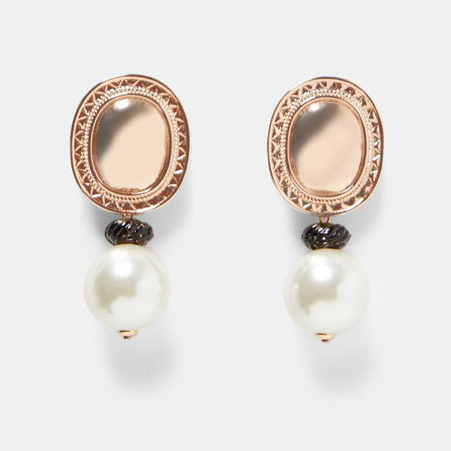 Statement Golden Round Simulated-Pearl Earrings