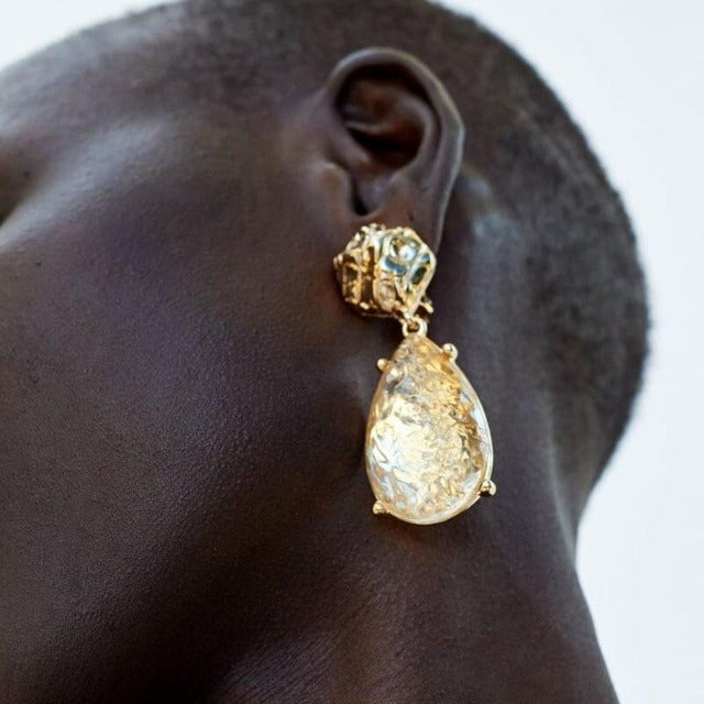 Load image into Gallery viewer, Oversized Gold Drop Dangle Earrings