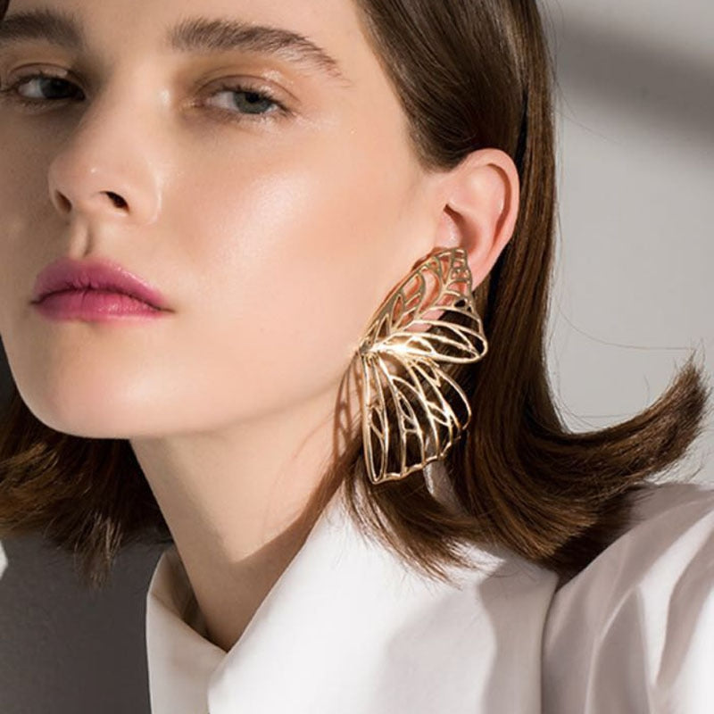 Load image into Gallery viewer, Oversized Gold Butterfly Earrings